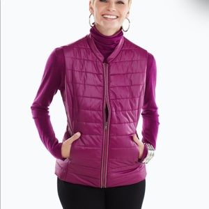 Chico's Sangria Quilted Zipper Vest With Pockets